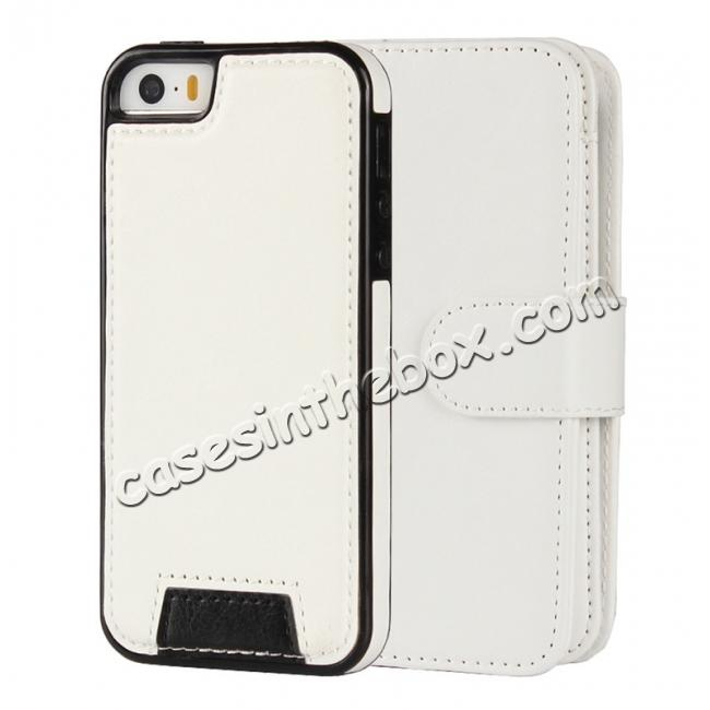 discount 2 in1 Magnet Detachable Removable Cards Cash Slots Leather Case for iPhone 5/5s/SE - White