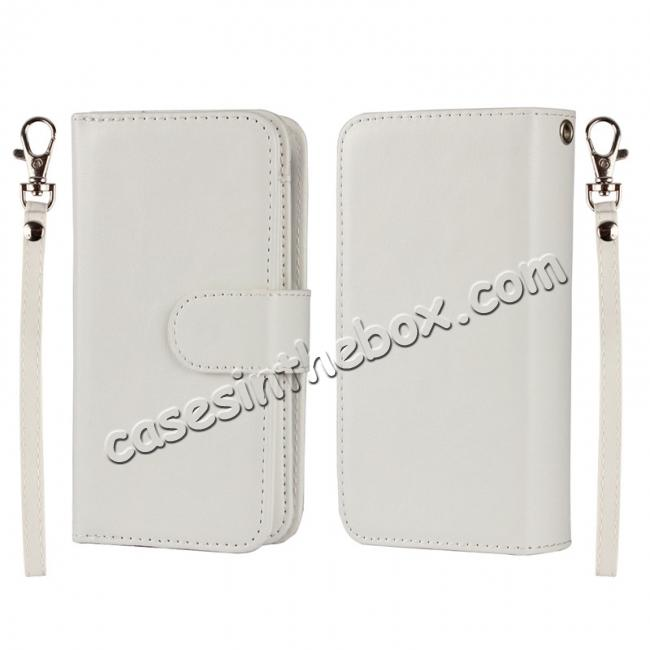 wholesale 2 in1 Magnet Detachable Removable Cards Cash Slots Leather Case for iPhone 5/5s/SE - White