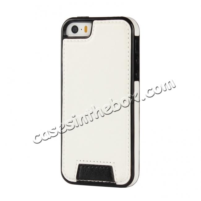 cheap 2 in1 Magnet Detachable Removable Cards Cash Slots Leather Case for iPhone 5/5s/SE - White