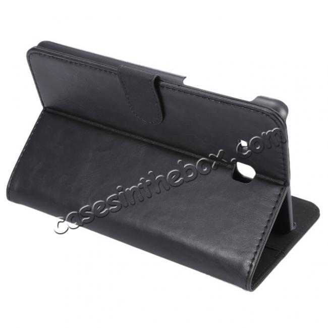 wholesale Crazy Horse PU Leather Wallet Flip Stand Smart Case Cover for Samsung Galaxy Tab A 7.0 T280 - Black