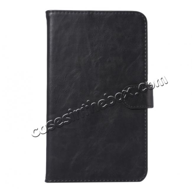 discount Crazy Horse PU Leather Wallet Flip Stand Smart Case Cover for Samsung Galaxy Tab A 7.0 T280 - Black