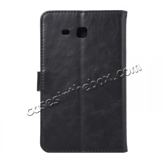 cheap Crazy Horse PU Leather Wallet Flip Stand Smart Case Cover for Samsung Galaxy Tab A 7.0 T280 - Black