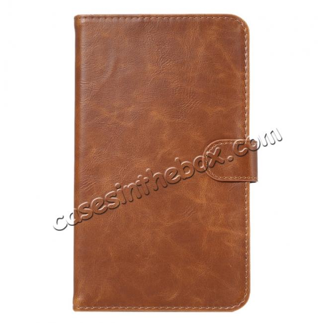 discount Crazy Horse PU Leather Wallet Flip Stand Smart Case Cover for Samsung Galaxy Tab A 7.0 T280 - Brown