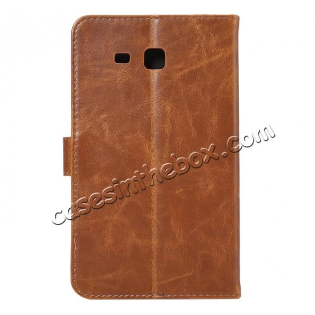 cheap Crazy Horse PU Leather Wallet Flip Stand Smart Case Cover for Samsung Galaxy Tab A 7.0 T280 - Brown