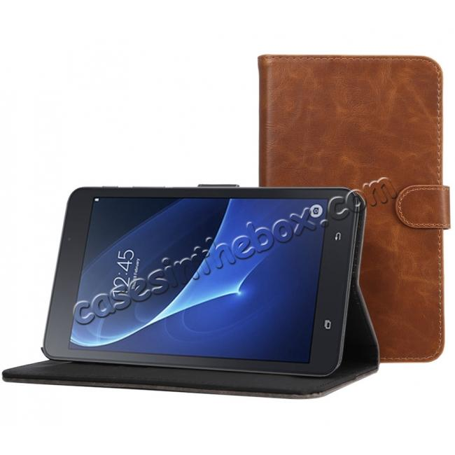 top quality Crazy Horse PU Leather Wallet Flip Stand Smart Case Cover for Samsung Galaxy Tab A 7.0 T280 - Brown