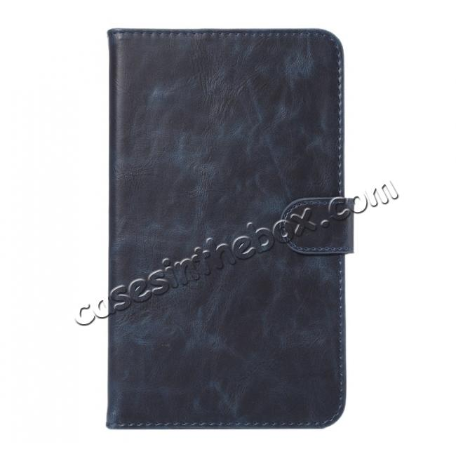 discount Crazy Horse PU Leather Wallet Flip Stand Smart Case Cover for Samsung Galaxy Tab A 7.0 T280 - Dark Blue