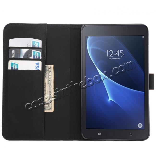 best price Crazy Horse PU Leather Wallet Flip Stand Smart Case Cover for Samsung Galaxy Tab A 7.0 T280 - Dark Blue