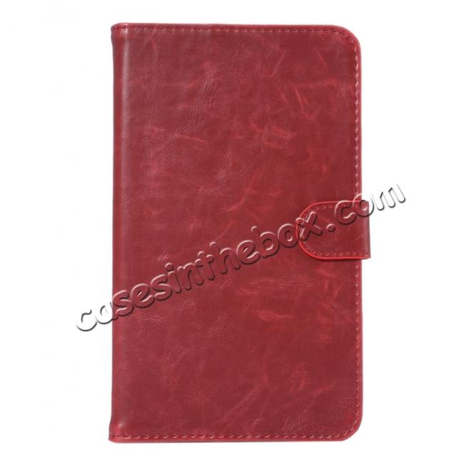 discount Crazy Horse PU Leather Wallet Flip Stand Smart Case Cover for Samsung Galaxy Tab A 7.0 T280 - Wine Red