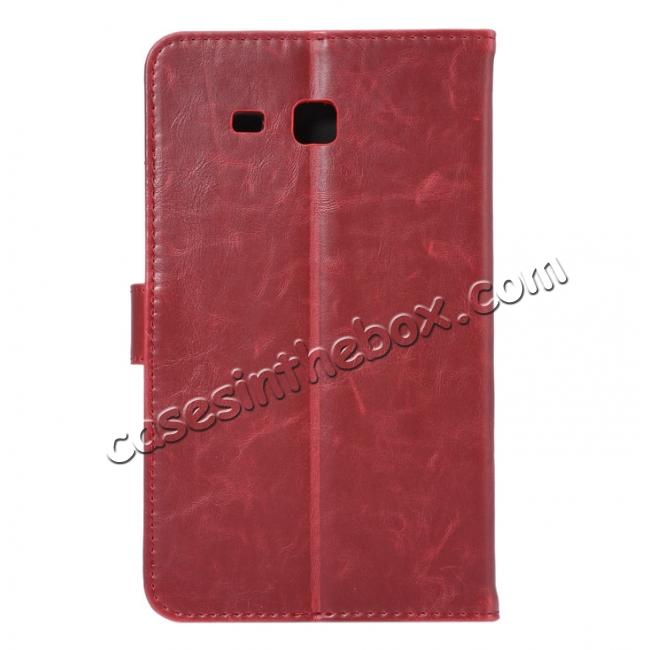cheap Crazy Horse PU Leather Wallet Flip Stand Smart Case Cover for Samsung Galaxy Tab A 7.0 T280 - Wine Red