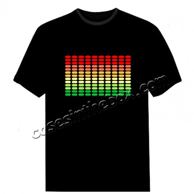 fashion electro t shirt,wholesale Electro-Luminescent Led Shirt With Music Activated LED T-Shirt