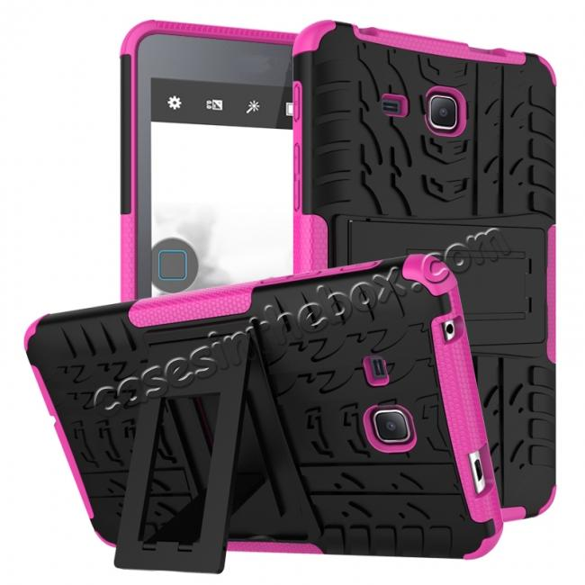 wholesale Hybrid Dual Layer Tough Kickstand Protective Case for Samsung Galaxy Tab A (2016) T280 - Hot pink
