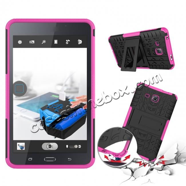 discount Hybrid Dual Layer Tough Kickstand Protective Case for Samsung Galaxy Tab A (2016) T280 - Hot pink