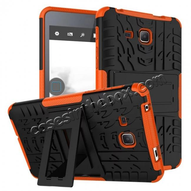 wholesale Hybrid Dual Layer Tough Kickstand Protective Case for Samsung Galaxy Tab A (2016) T280 - Orange