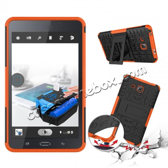 discount Hybrid Dual Layer Tough Kickstand Protective Case for Samsung Galaxy Tab A (2016) T280 - Orange