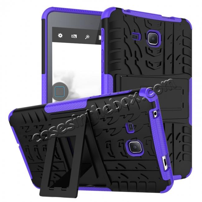 wholesale Hybrid Dual Layer Tough Kickstand Protective Case for Samsung Galaxy Tab A (2016) T280 - Purple
