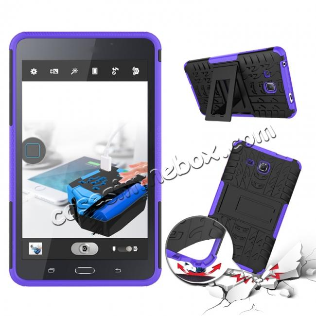 discount Hybrid Dual Layer Tough Kickstand Protective Case for Samsung Galaxy Tab A (2016) T280 - Purple