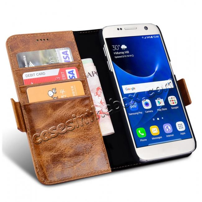 discount ICARER Oil Wax Genuine Leather Detachable 2 in 1 Wallet Folio Case For Samsung Galaxy S7 - Coffee