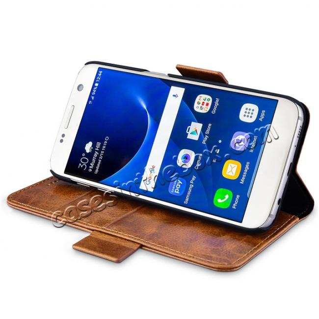 cheap ICARER Oil Wax Genuine Leather Detachable 2 in 1 Wallet Folio Case For Samsung Galaxy S7 - Coffee