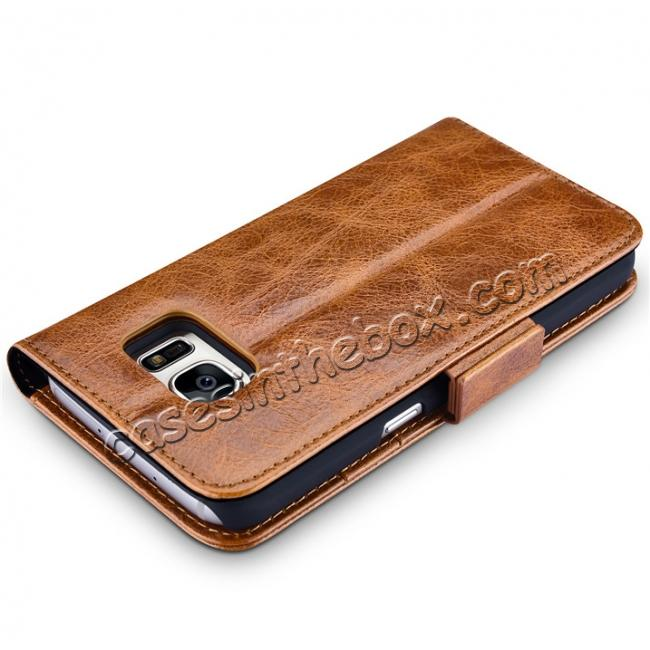 low price ICARER Oil Wax Genuine Leather Detachable 2 in 1 Wallet Folio Case For Samsung Galaxy S7 - Coffee