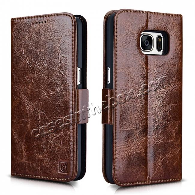 wholesale ICARER Oil Wax Genuine Leather Detachable 2 in 1 Wallet Folio Case For Samsung Galaxy S7 - Coffee