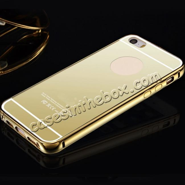 wholesale Luxury Aluminum Metal Bumper with Mirror Acrylic Back Cover for iPhone 6S/6 4.7inch - Gold