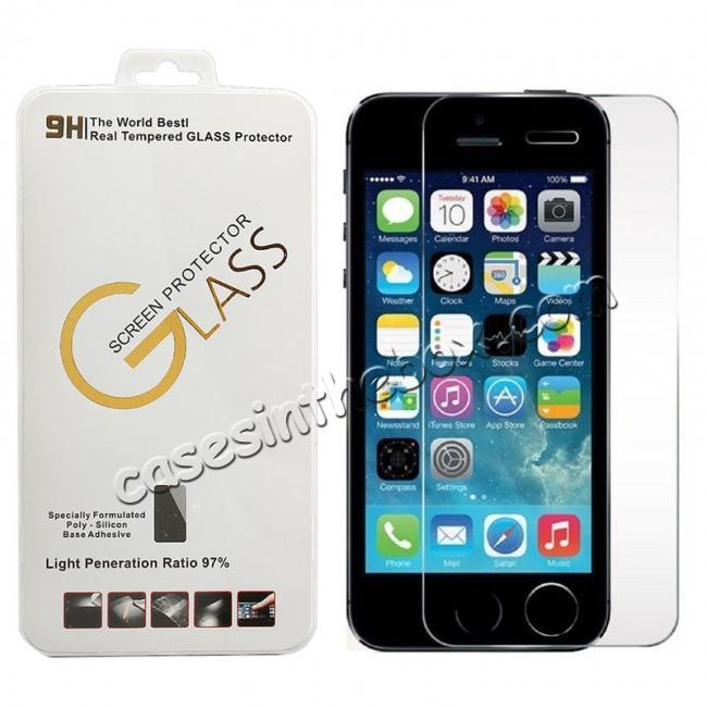 wholesale New Premium Real Tempered Glass Film Screen Protector For iPhone 5/5S/5C/SE