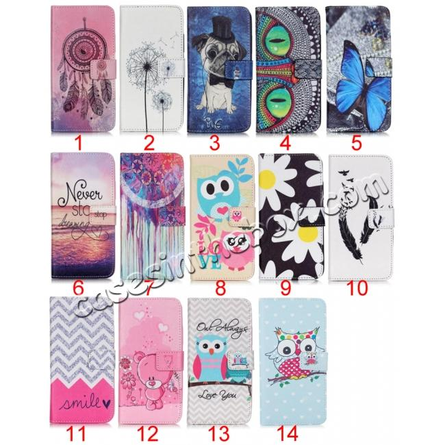 wholesale Patterned Magnetic PU Leather Card Wallet Flip Slot Stand Case For Samsung Galaxy S7
