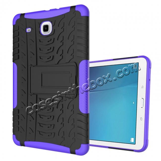 wholesale Shockproof Armor Heavy Duty Hybrid Kickstand Cover Case For Samsung Galaxy Tab E 9.6inch T560 - Purple
