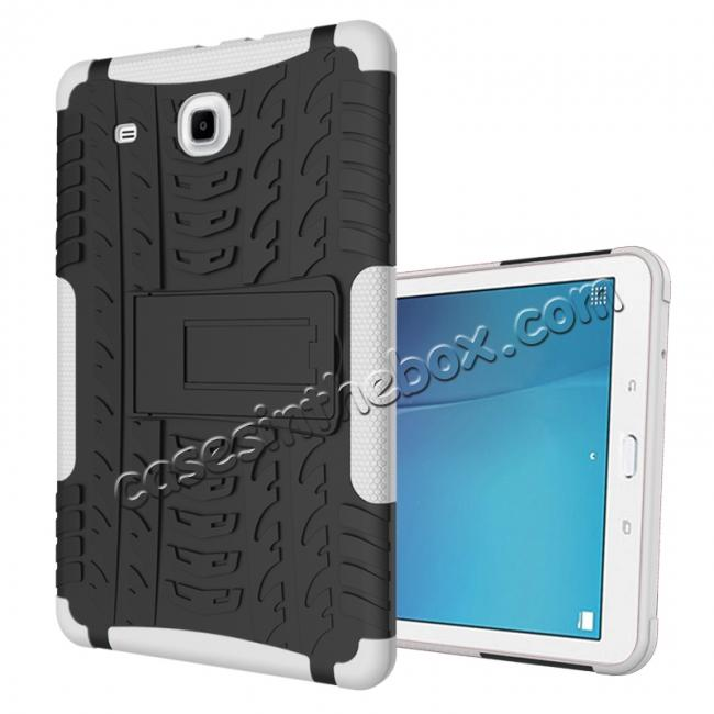 wholesale Shockproof Armor Heavy Duty Hybrid Kickstand Cover Case For Samsung Galaxy Tab E 9.6inch T560 - White