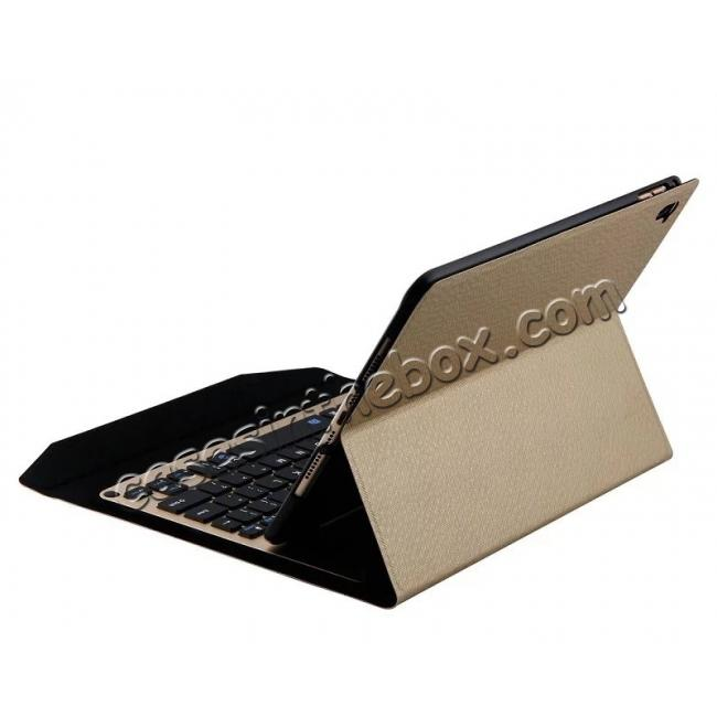 cheap Ultra-thin Aluminum Bluetooth Keyboard Leather Case for iPad Pro 9.7 inch - Champagne Gold
