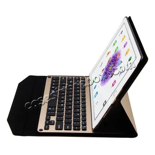 discount Ultra-thin Aluminum Bluetooth Keyboard Leather Case for iPad Pro 9.7 inch - Champagne Gold