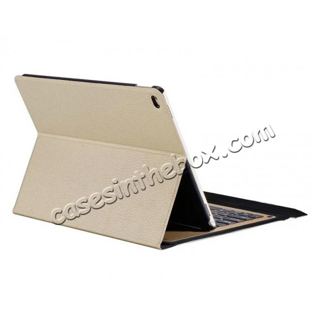 top quality Ultra-thin Aluminum Bluetooth Keyboard Leather Case for iPad Pro 9.7 inch - Champagne Gold