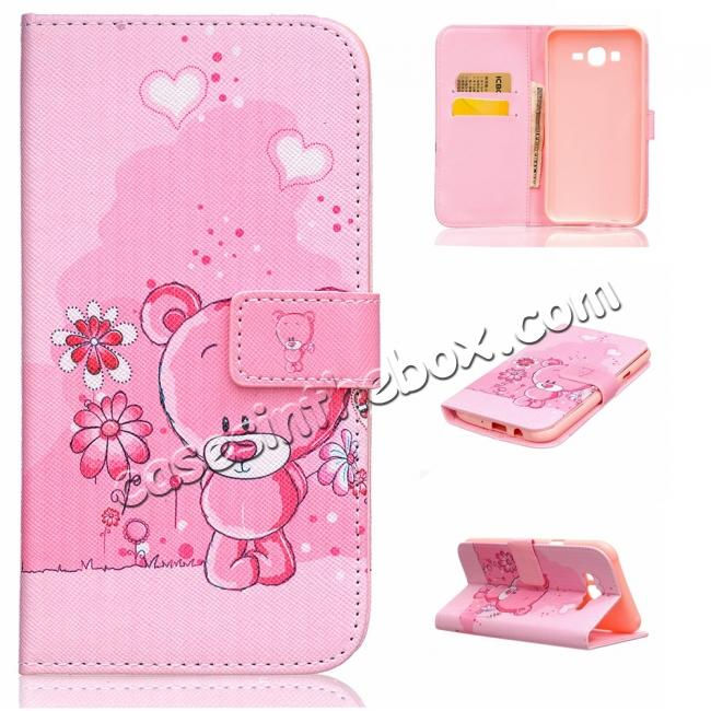 discount Fashion Leather Wallet Filp stand Case for Samsung Galaxy J7 / J700 (2015)