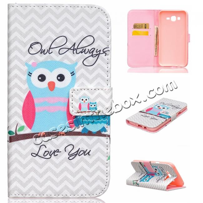 cheap Fashion Leather Wallet Filp stand Case for Samsung Galaxy J7 / J700 (2015)