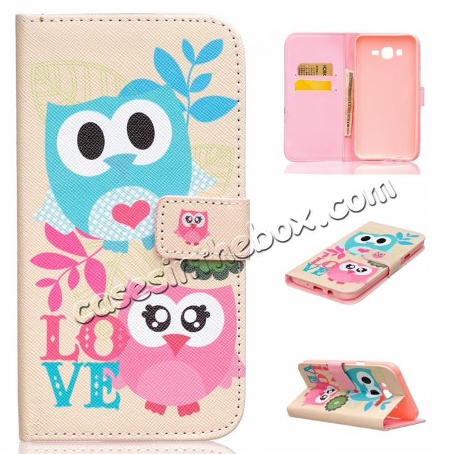 best price Fashion Leather Wallet Filp stand Case for Samsung Galaxy J7 / J700 (2015)