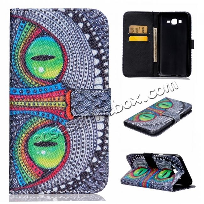 low price Fashion Leather Wallet Filp stand Case for Samsung Galaxy J7 / J700 (2015)
