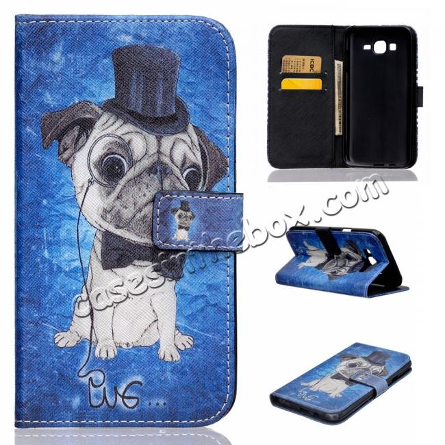china wholesale Fashion Leather Wallet Filp stand Case for Samsung Galaxy J7 / J700 (2015)