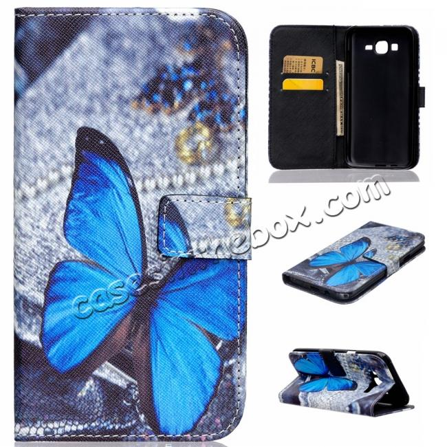 China leading wholesale Fashion Leather Wallet Filp stand Case for Samsung Galaxy J7 / J700 (2015)