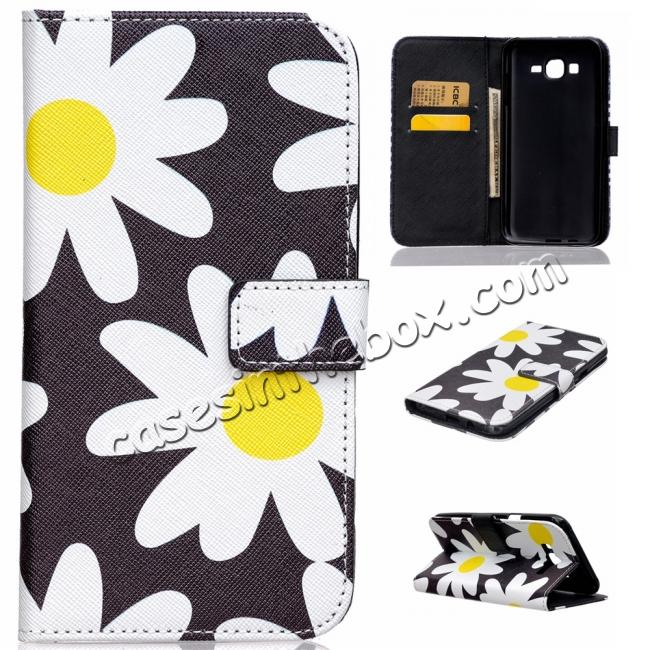 cheap wholesale Fashion Leather Wallet Filp stand Case for Samsung Galaxy J7 / J700 (2015)