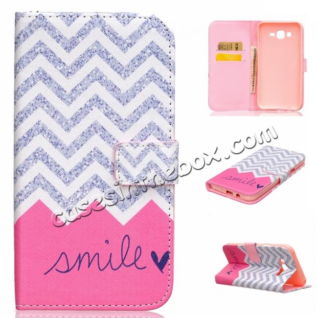 discount wholesale Fashion Leather Wallet Filp stand Case for Samsung Galaxy J7 / J700 (2015)