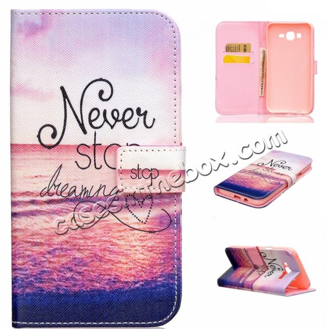 wholesale Fashion Leather Wallet Filp stand Case for Samsung Galaxy J7 / J700 (2015)