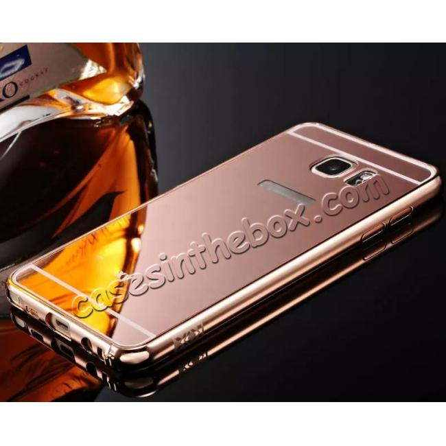 wholesale Luxury Metal Bumper With Mirror Acrylic Back Cover For Samsung Galaxy Note 5 / Note 8 / S6 S7 S7 Edge S8 S8 Plus