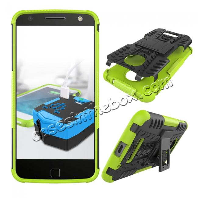 discount Heavy Duty Hybrid Dual Layer Kickstand Phone Cover Case for Motorola Moto Z Force - Green