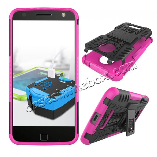 discount Heavy Duty Hybrid Dual Layer Kickstand Phone Cover Case for Motorola Moto Z Force - Hot pink