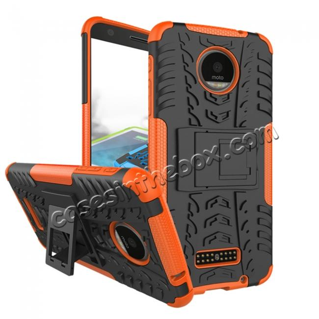 wholesale Heavy Duty Hybrid Dual Layer Kickstand Phone Cover Case for Motorola Moto Z Force - Orange