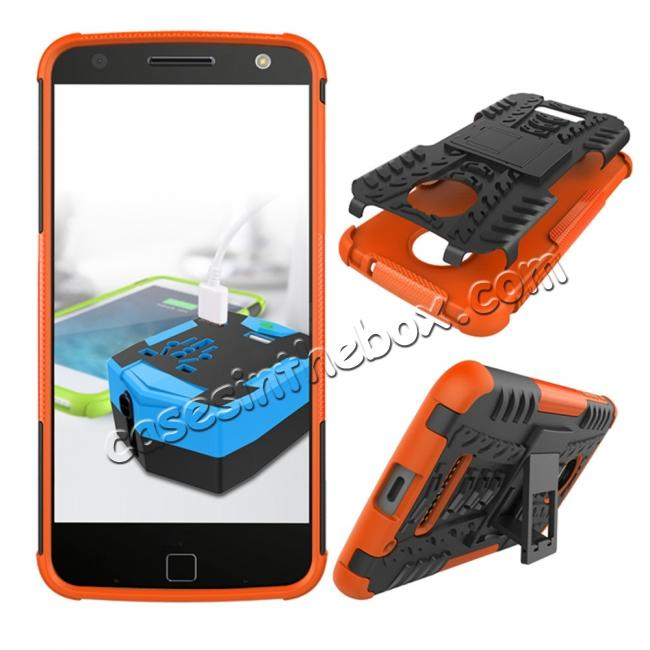 discount Heavy Duty Hybrid Dual Layer Kickstand Phone Cover Case for Motorola Moto Z Force - Orange