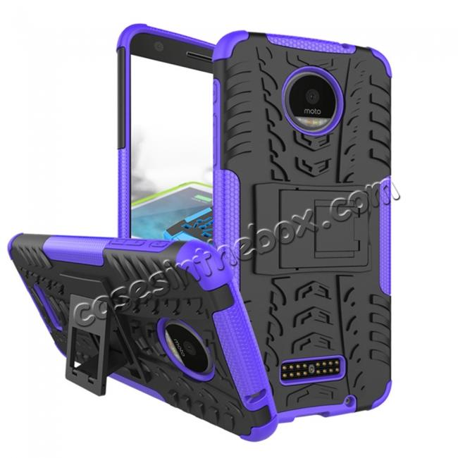 wholesale Heavy Duty Hybrid Dual Layer Kickstand Phone Cover Case for Motorola Moto Z Force - Purple