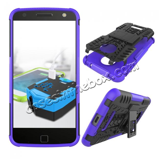 discount Heavy Duty Hybrid Dual Layer Kickstand Phone Cover Case for Motorola Moto Z Force - Purple