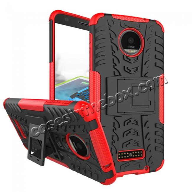 wholesale Heavy Duty Hybrid Dual Layer Kickstand Phone Cover Case for Motorola Moto Z Force - Red