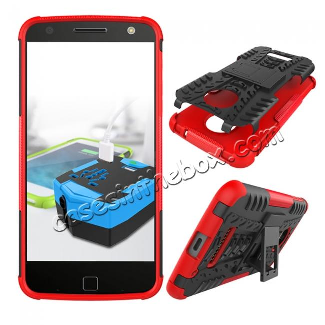 discount Heavy Duty Hybrid Dual Layer Kickstand Phone Cover Case for Motorola Moto Z Force - Red